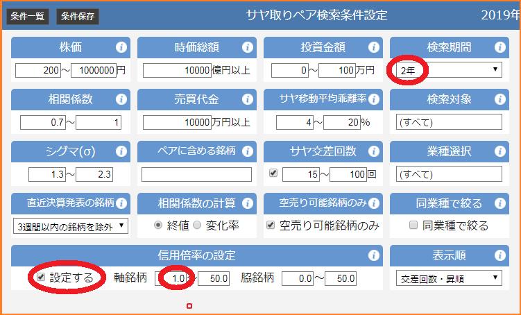 高機能版サヤトレ検索条件(回帰型)