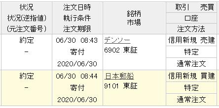 デンソーと日本郵船のサヤ取り約定画面